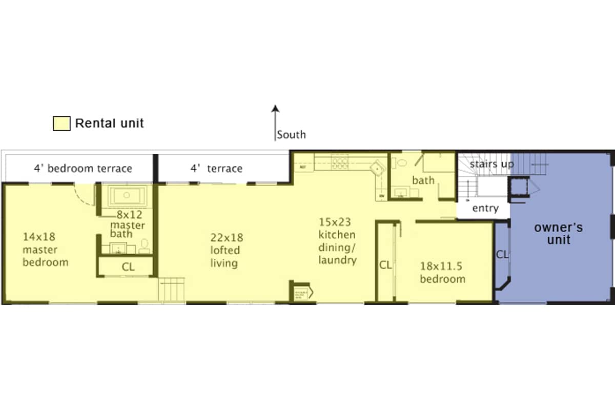 Floorplan: rental is in yellow