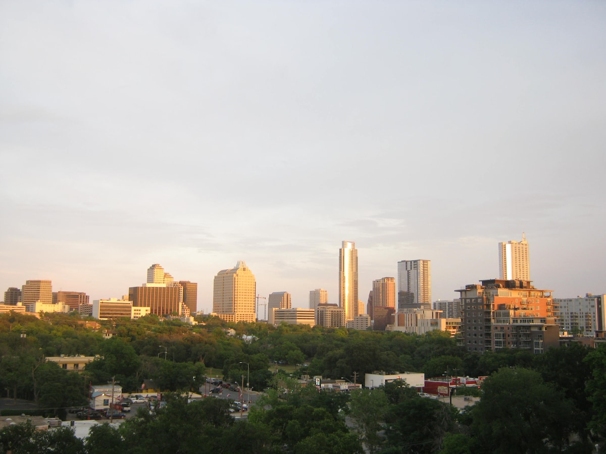 A spectacular view of Austin (capitol building just out of frame to left) at the top of the art walls that are a stones throw from my apartment.