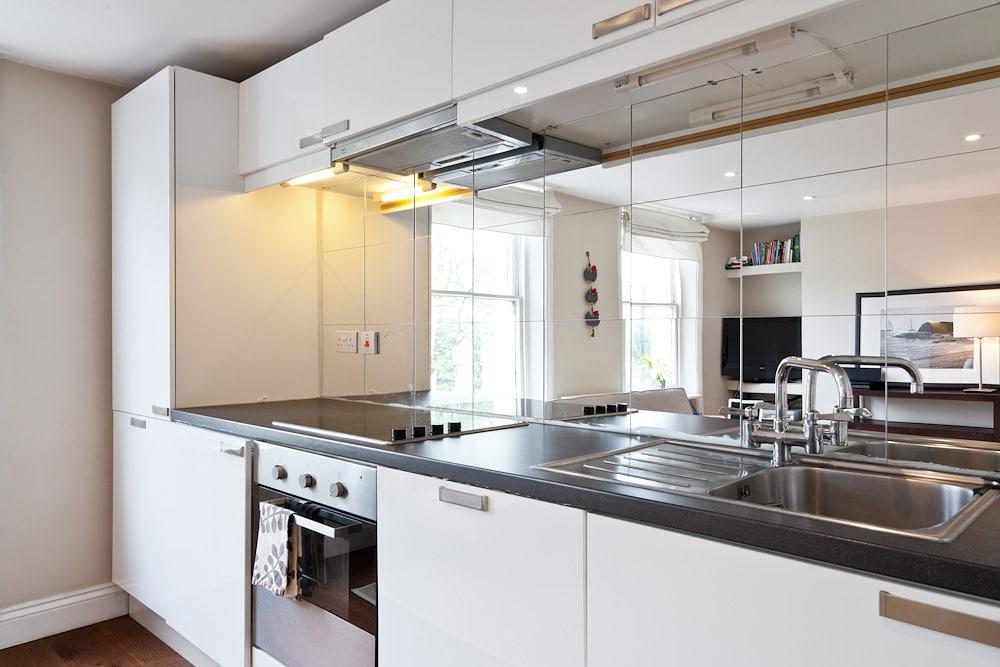 Fully equipped kitchen with all cooking utensils included with washing machine and dishwasher