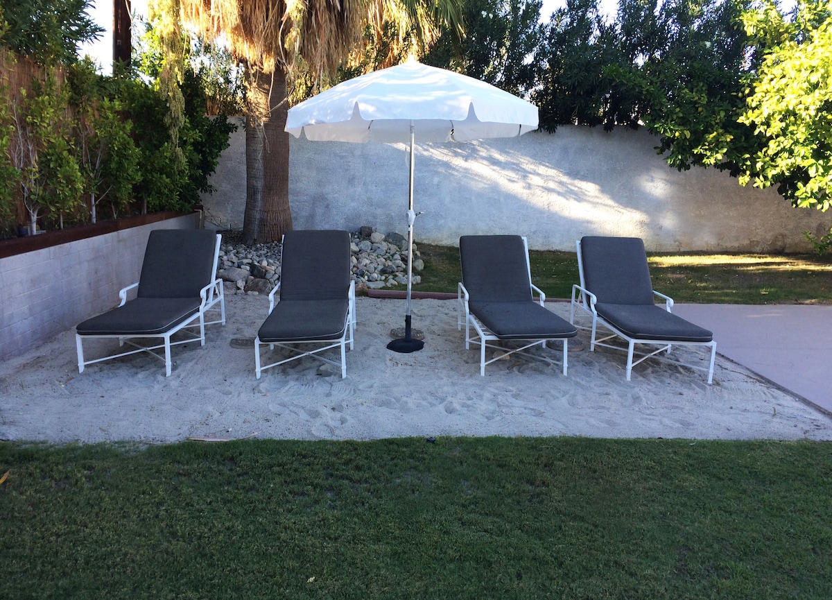Beach area and lounge chairs