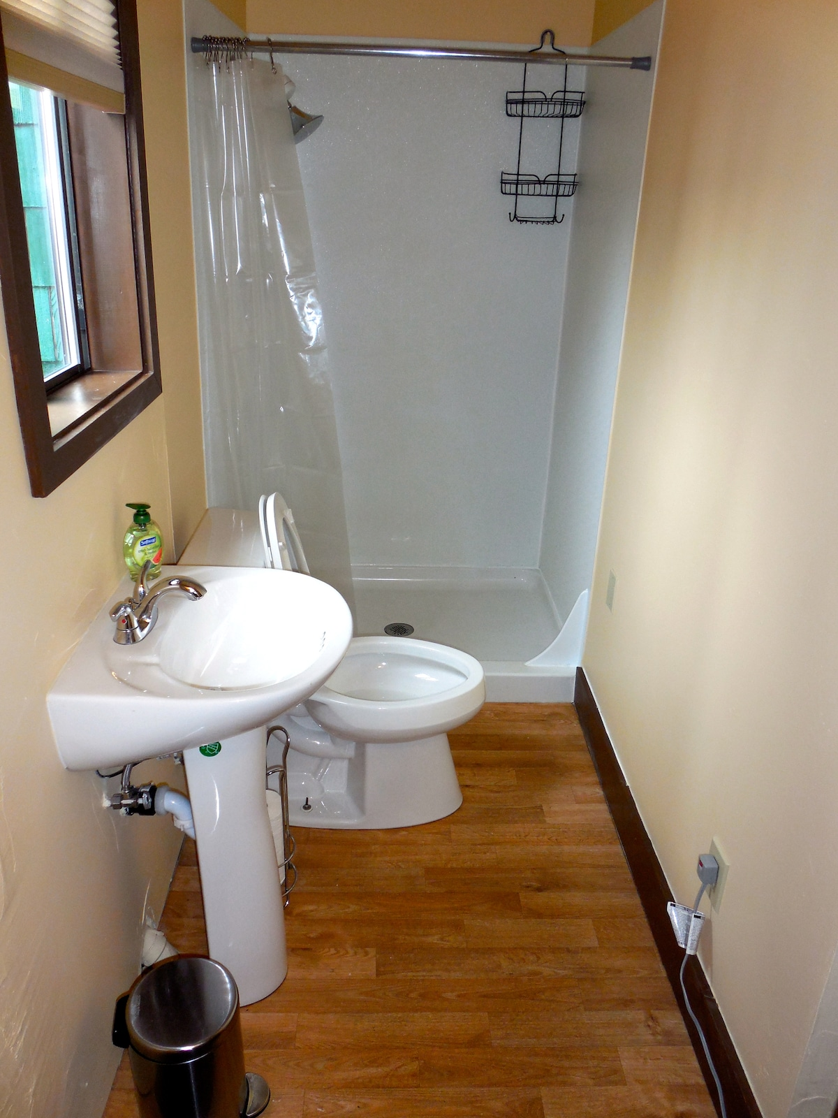 Newly remodeled bathroom .