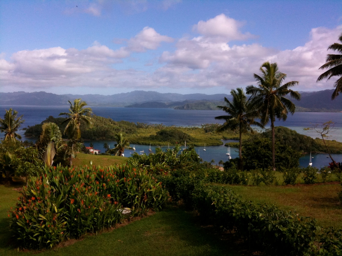 Looking out over the Savusavu harbour from the deck of Bula Vista .