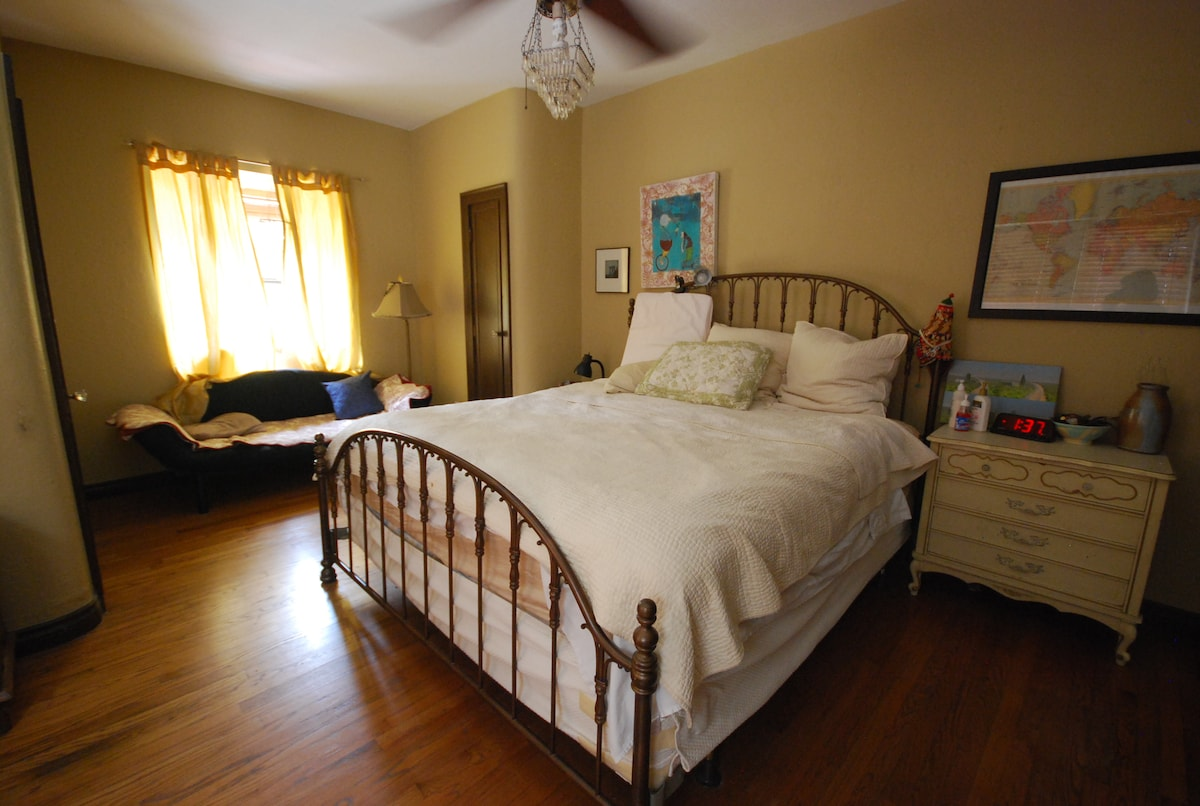 the bedroom.  King size bed.  Comfy.  Like sleeping on clouds.  You've got space for your clothes!