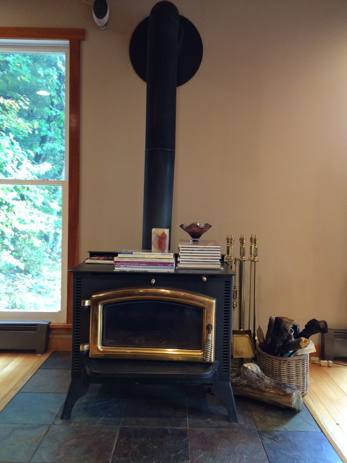 The wood burning stove keeps the main floor nice and warm on those cold winter nights.