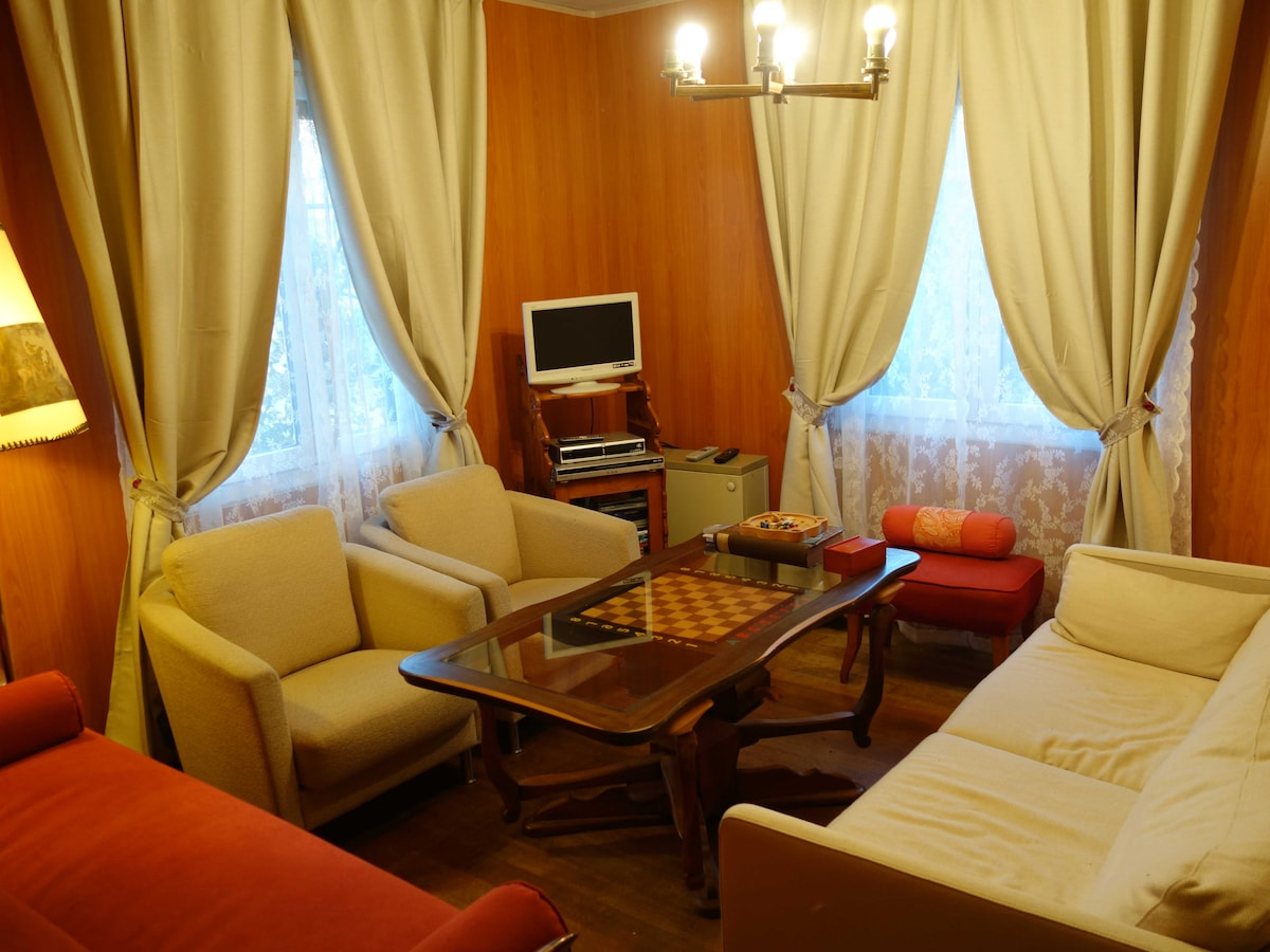 Living room with two sofas used also as beds