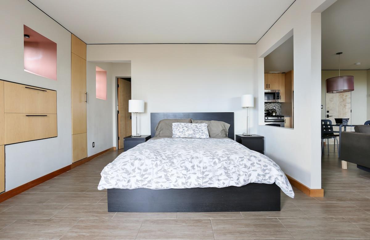 Comfy queen size bed.