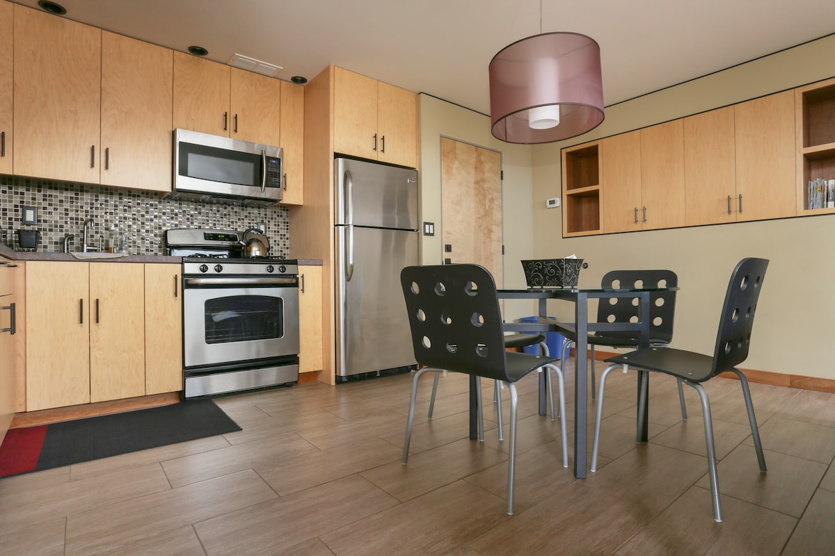 Built in custom cabinets to keep your things out of the way and tidy.