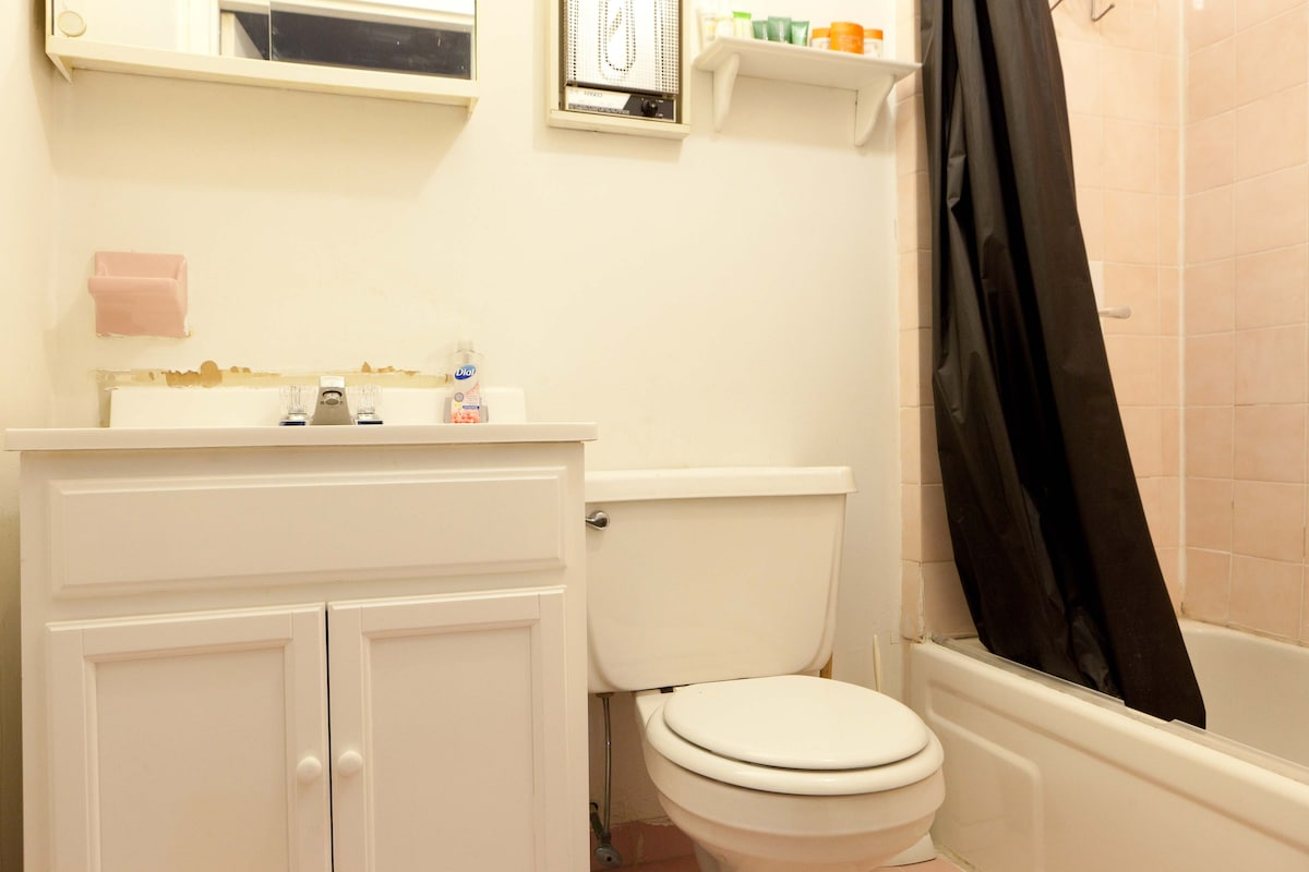 Spotless NY bathroom with super high pressure water! That is rare in NY!