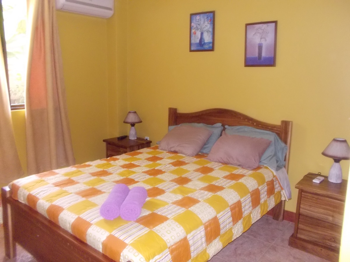 Queen beds, built in closets, A/C each private room