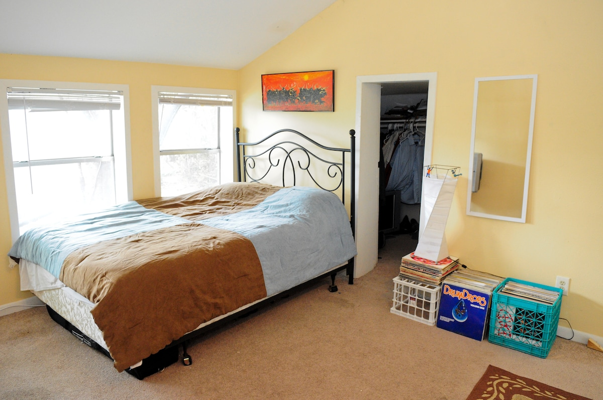 The downstairs bedroom, my old bedroom. Everything you see here is now in the upstairs room with hardwood floors.