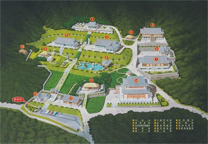 한국 전통 한옥과 정자 공간