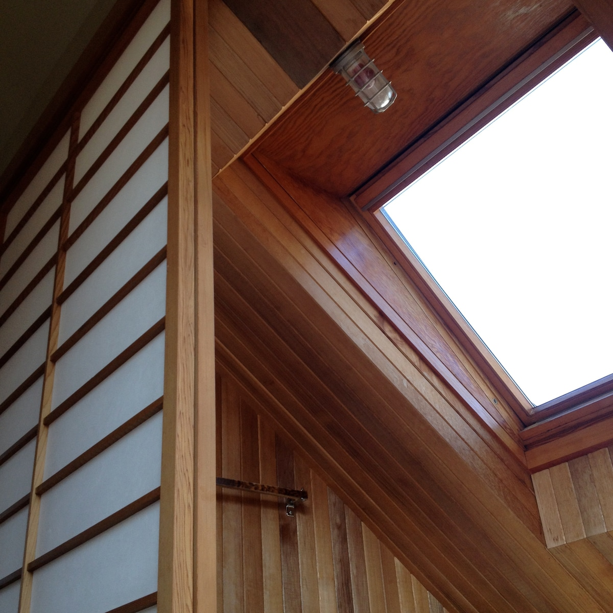 Skylight, which looks down on the jacuzzi.  Jacuzzi Room is made using Brazilian slate, radiant heat and wood paneling.