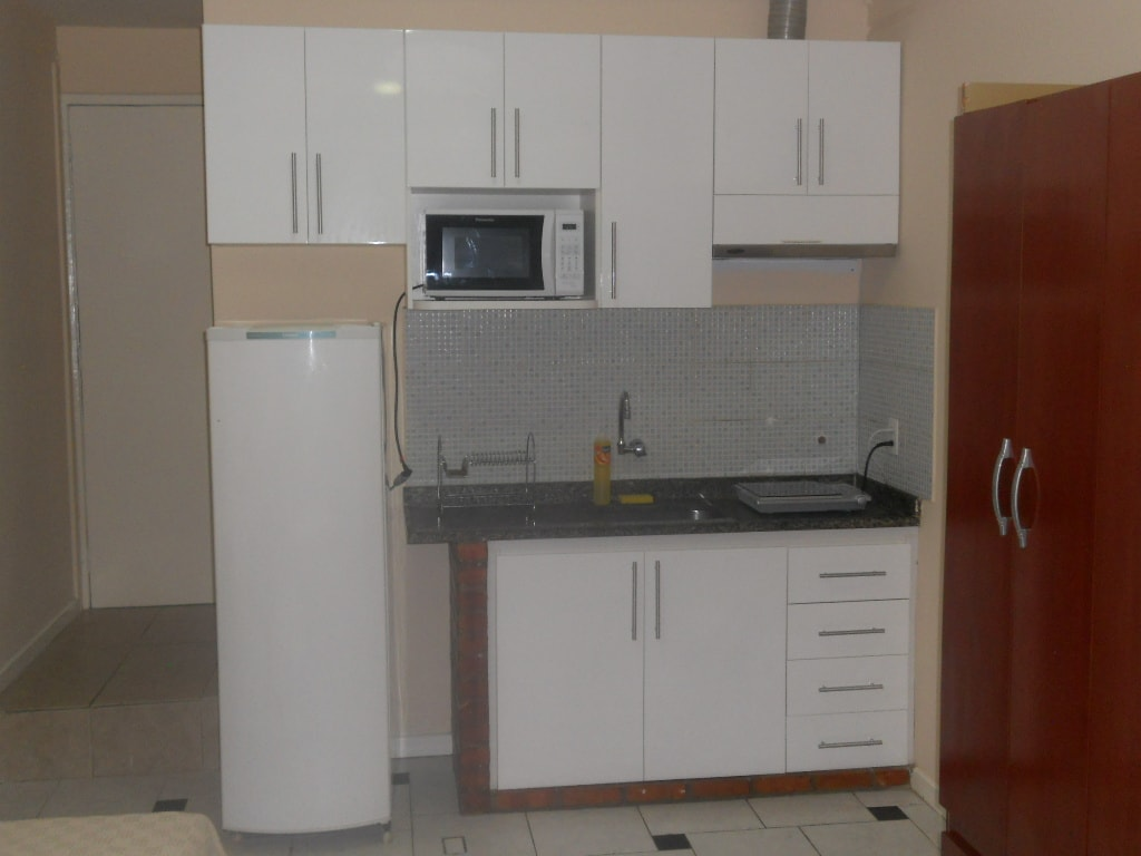 New Kitchenette with microwave, cooktop and refrigerator.