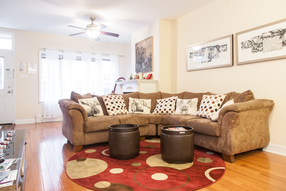 On the large comfy sofa, you could enjoy watching TV and movies