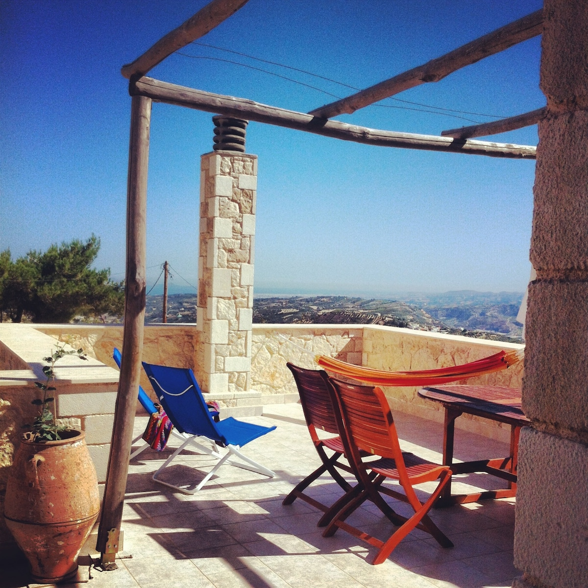 The upstairs terrace - great spot to relax and drink in the view