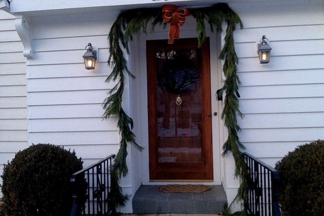 Front door at Christmas time.