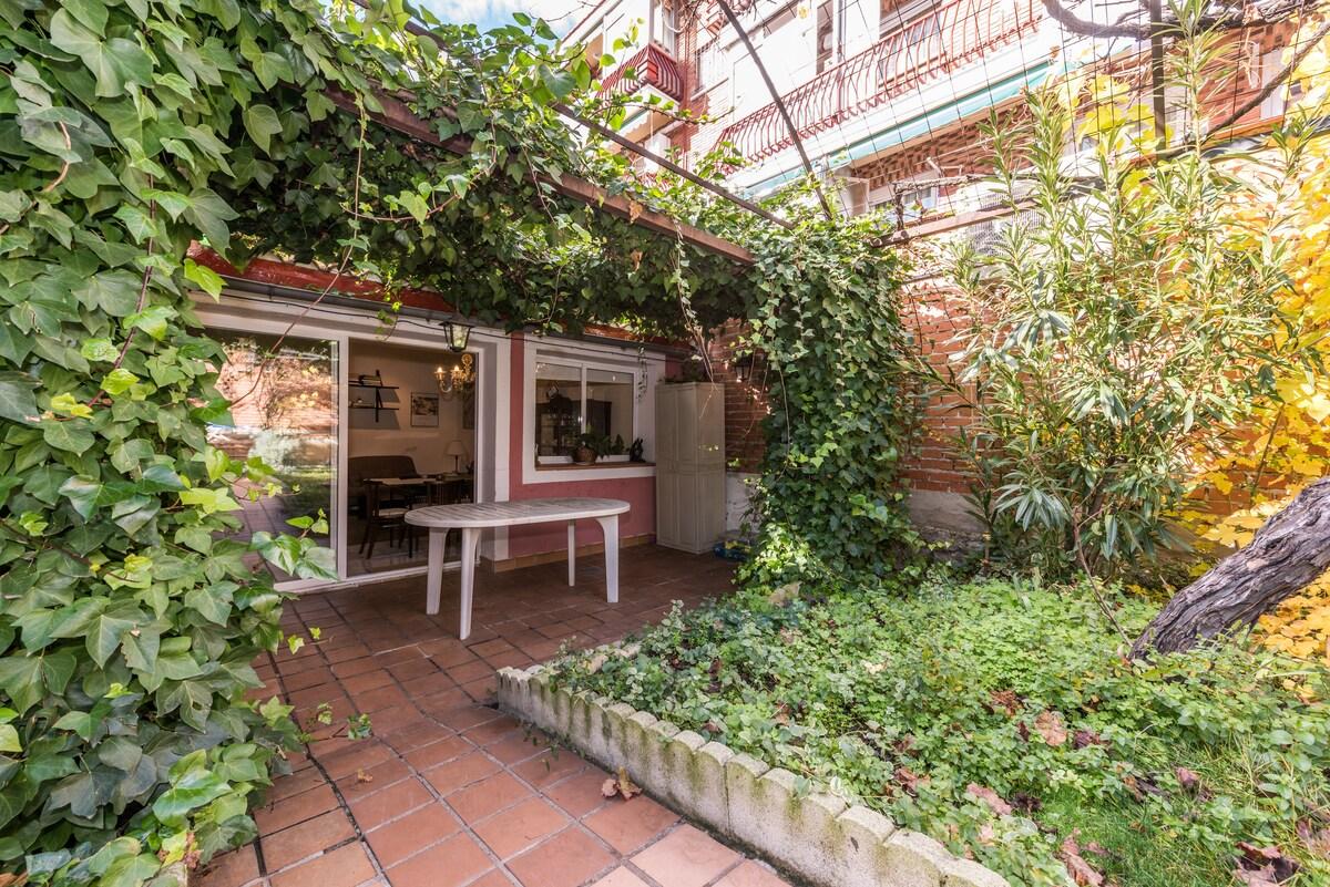 Un jardín junto a la calle Alcalá