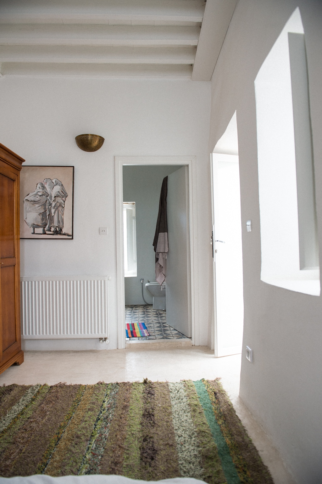 From main Bedroom to bathroom