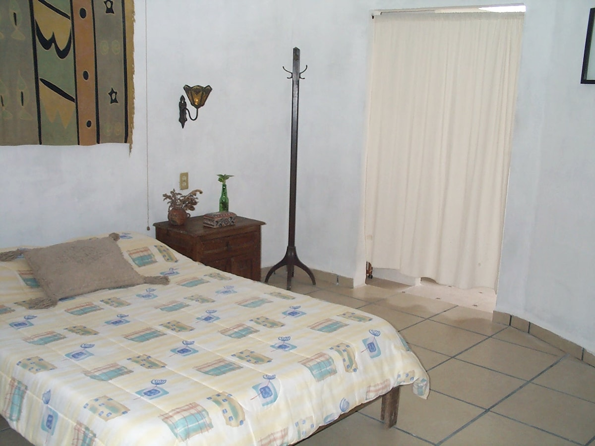 Casitas Kinsol Guesthouse in Puerto Morelos - near Cancun - (website hidden) - Room #5 - A full size bed - No door to the bathroom, just a curtain