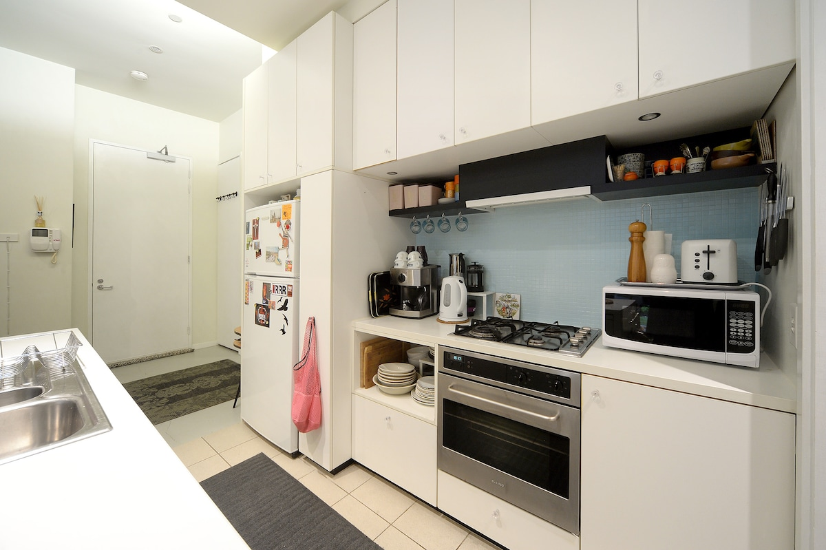 Fully appointed kitchen with cooker, dishwasher, microwave, coffee machine, crockery, cutlery & all manner of gadgets, pantry bursting with herbs, spices, oils from all over the world