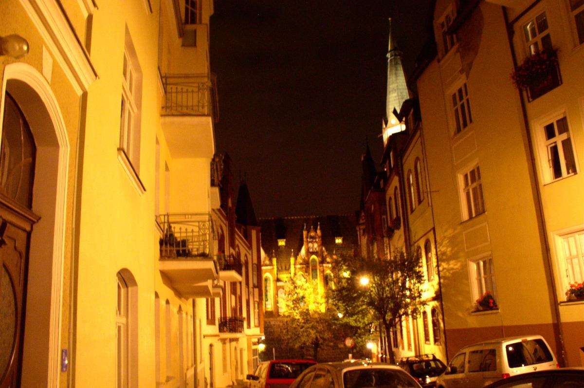 Czyżewskiego street with a view of Monte Cassino street and St. George church
