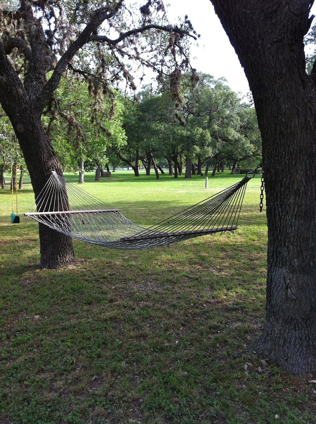 Relax in the hammock and listen to the birds sing and the river go across the dam.