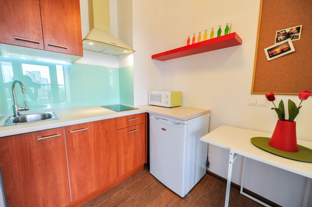 The kitchen is fully equipped with a dishwasher, refrigerator, stove, microwave, , electric kettle, crockery and pots need to prepare meals.