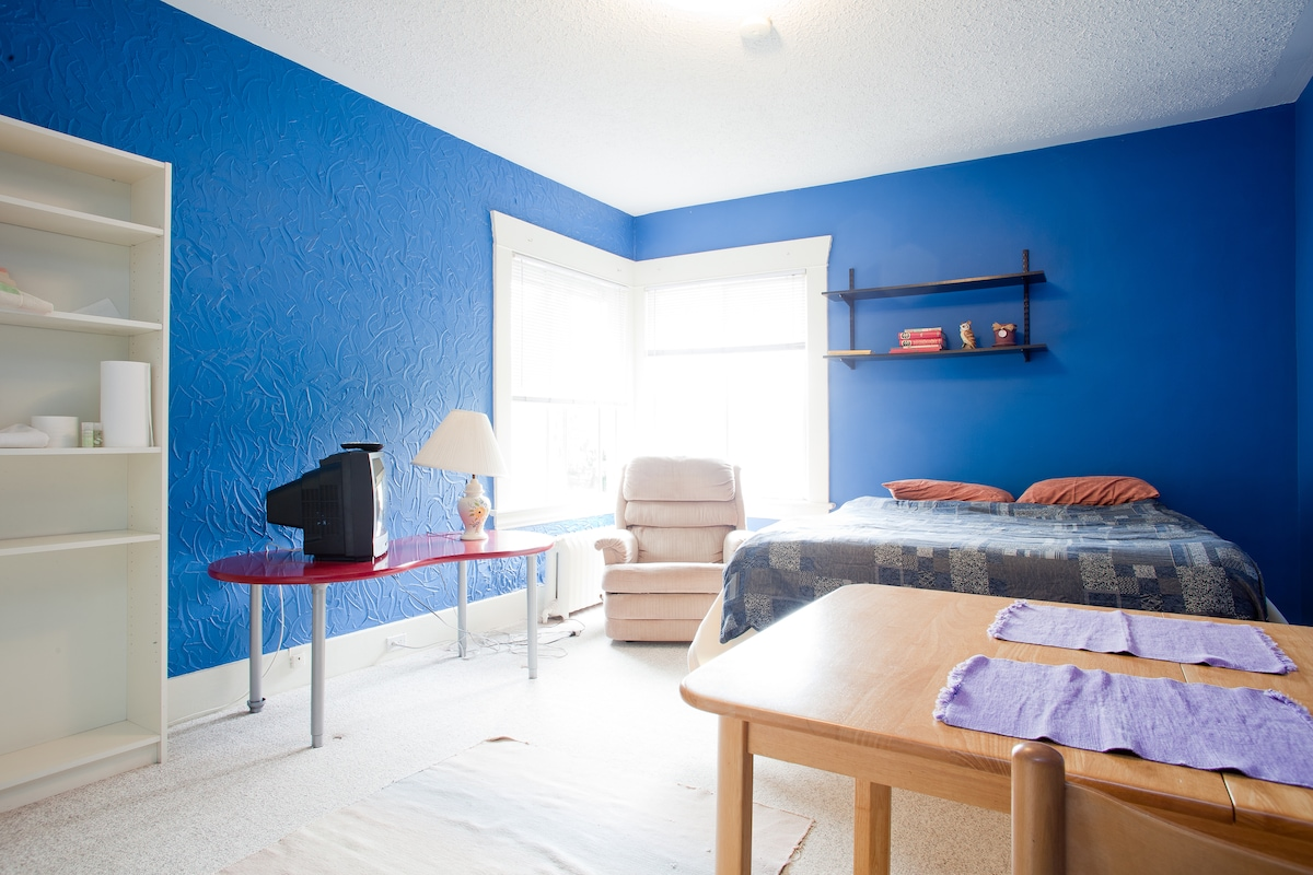Spacious Blue Room in Large House