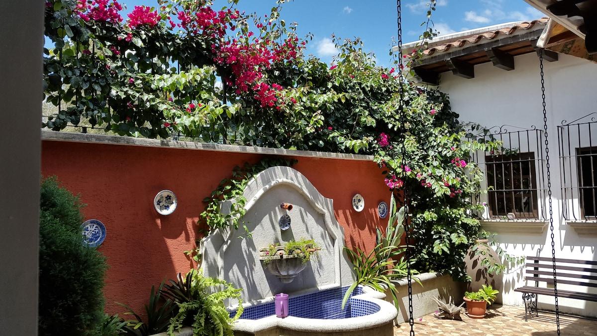 Entrance patio & fountain