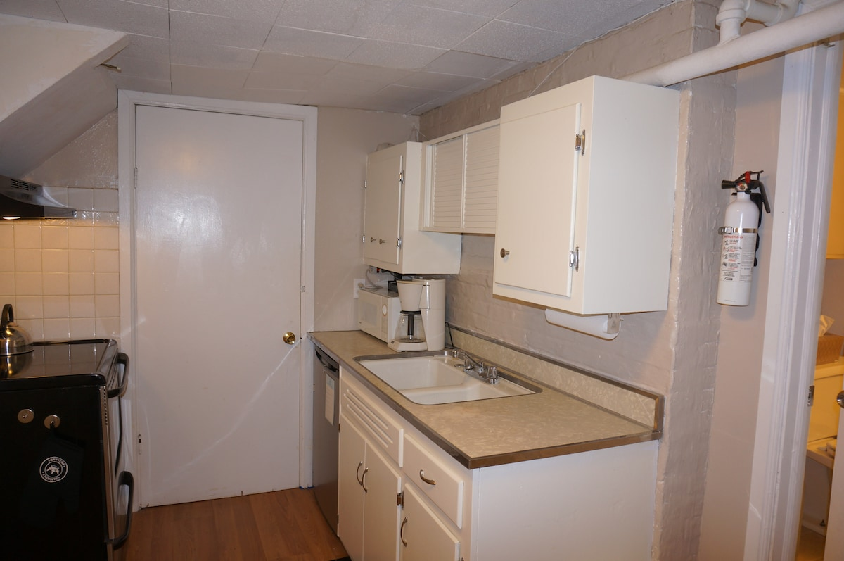 Well stocked galley kitchen with basic cooking equipment. Microwave, refrigerator, coffeemaker, toaster, full sized stove and oven.