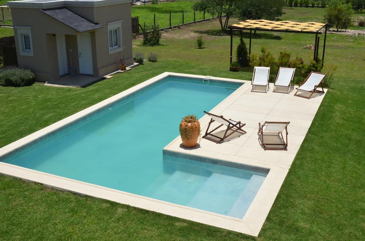 Big swimming pool (3,5 x 10 m) with sun deck