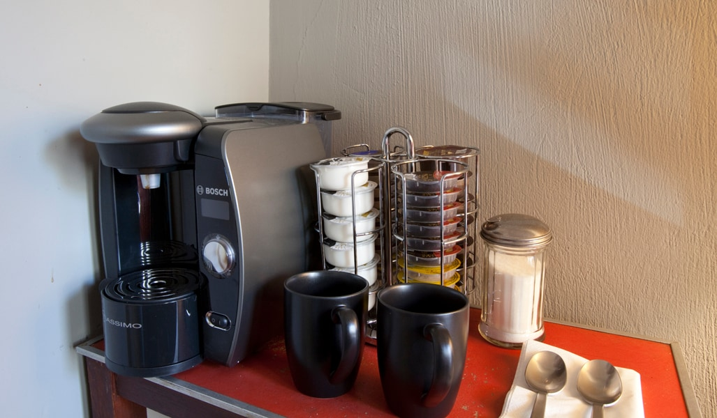Tassimo Coffee maker in guest room