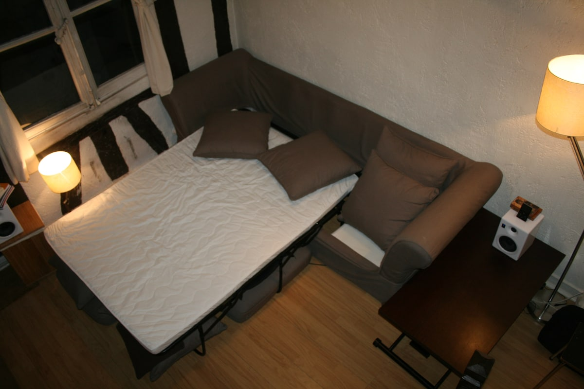 Double - size bed downstairs (some movements to do to free up place! See table in corner!