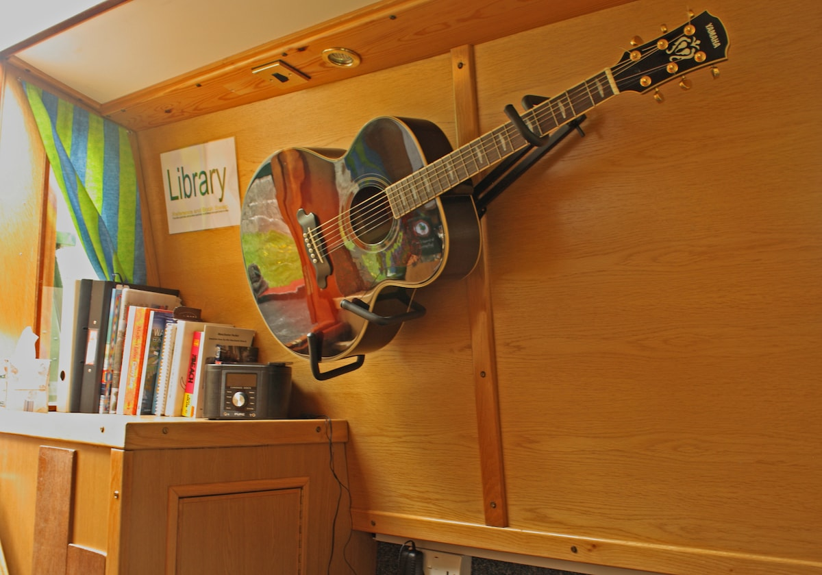 Help yourself to the guitar, books and games.