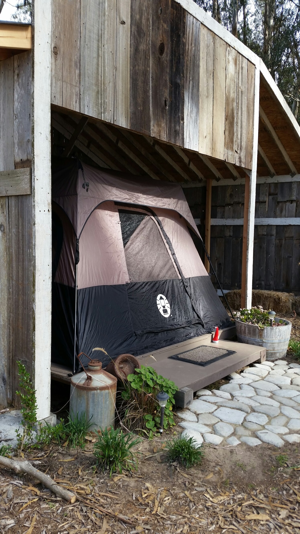 Glamping! 10x14 tent with carpet and a real queen-size bed!