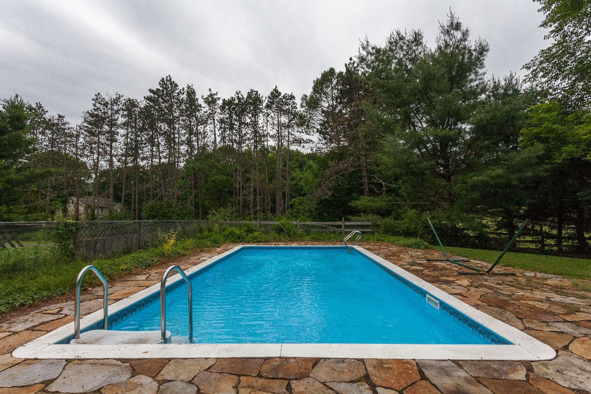 The pool is 18X32 with chaise lounges and a table and chairs to eat at.