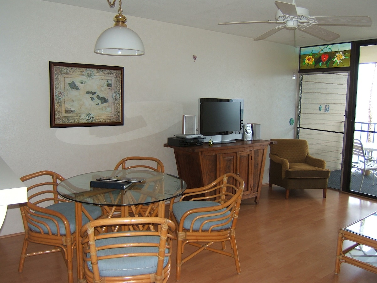 Living room ... TV, DVD player, wireless internet included.
