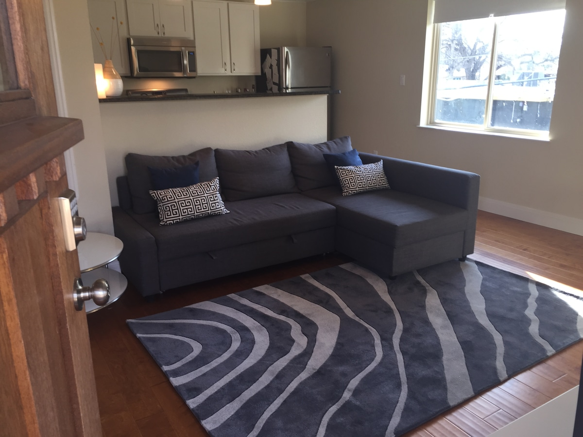 NEW PHOTO - We've added some great new throw pillows and plush new rug.  We've also rearranged a bit to open the place up.  (1/29/15)