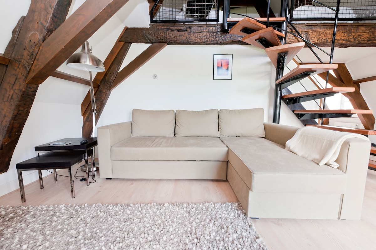 Lounge/Living area with comfortable couch which can be turned into a double sofa bed for 2 adults.