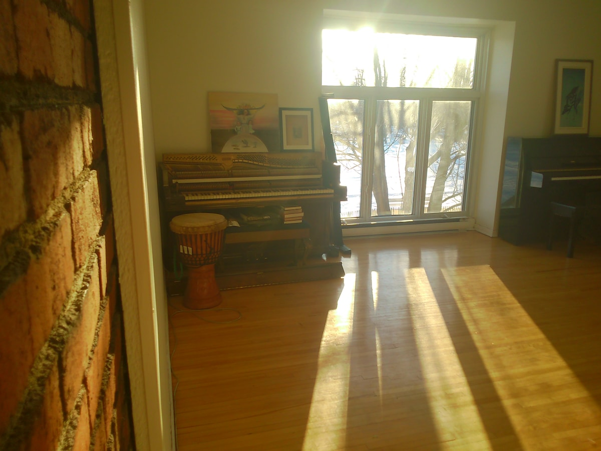 Comfy Exposed Brick/Park View/Piano
