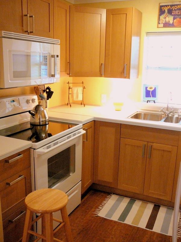 This is a fully equipped IKEA kitchen including range, microwave, dishwasher, toaster/oven, refrigerator/freezer, and dishwasher