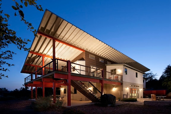 The large sheltering shed roof protects the home from the hot Ojai sun !