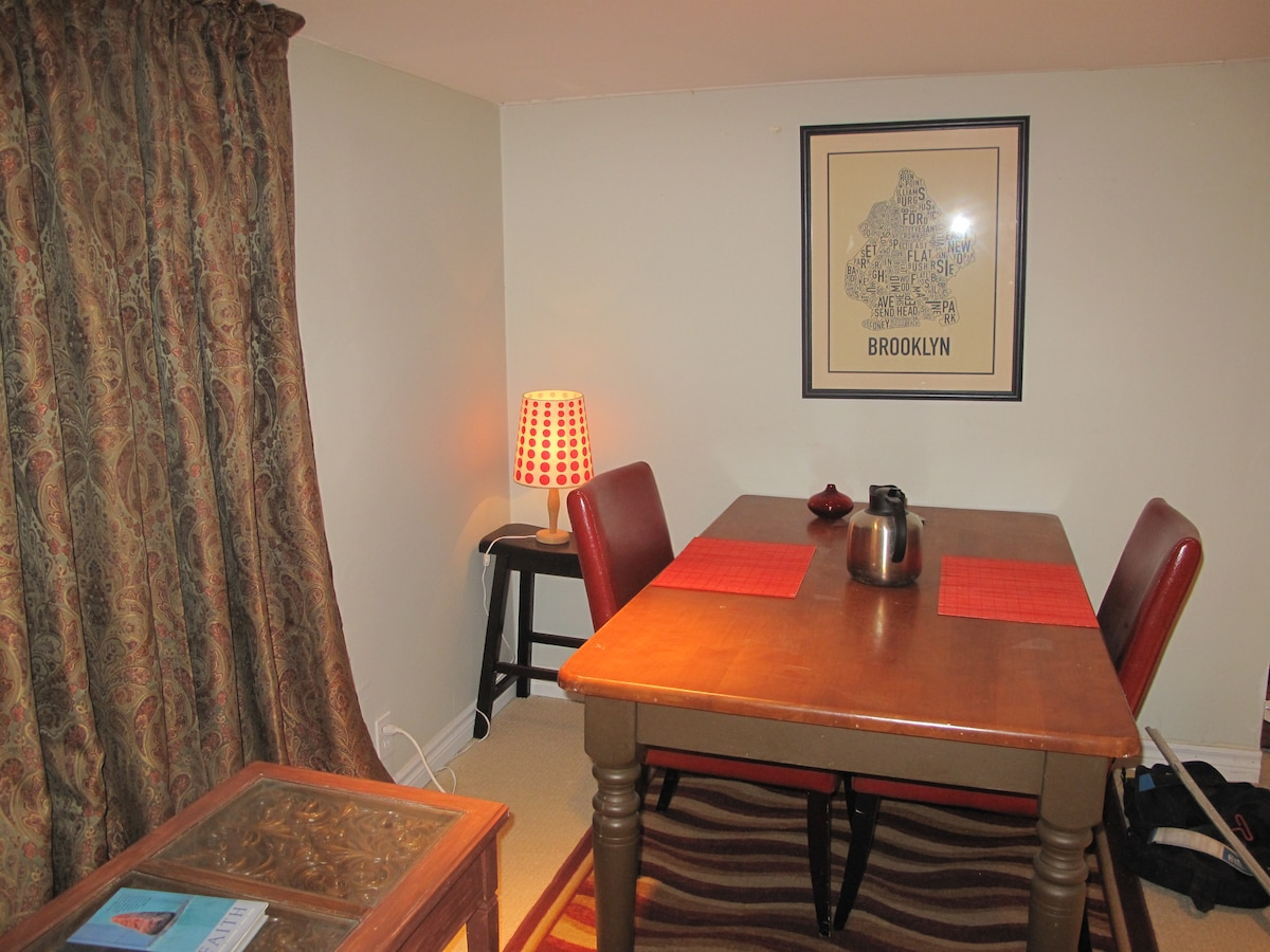 Dining area: a romantic dinner for two? A large workspace to spread out your books?
