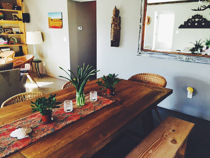 The large rustic table.