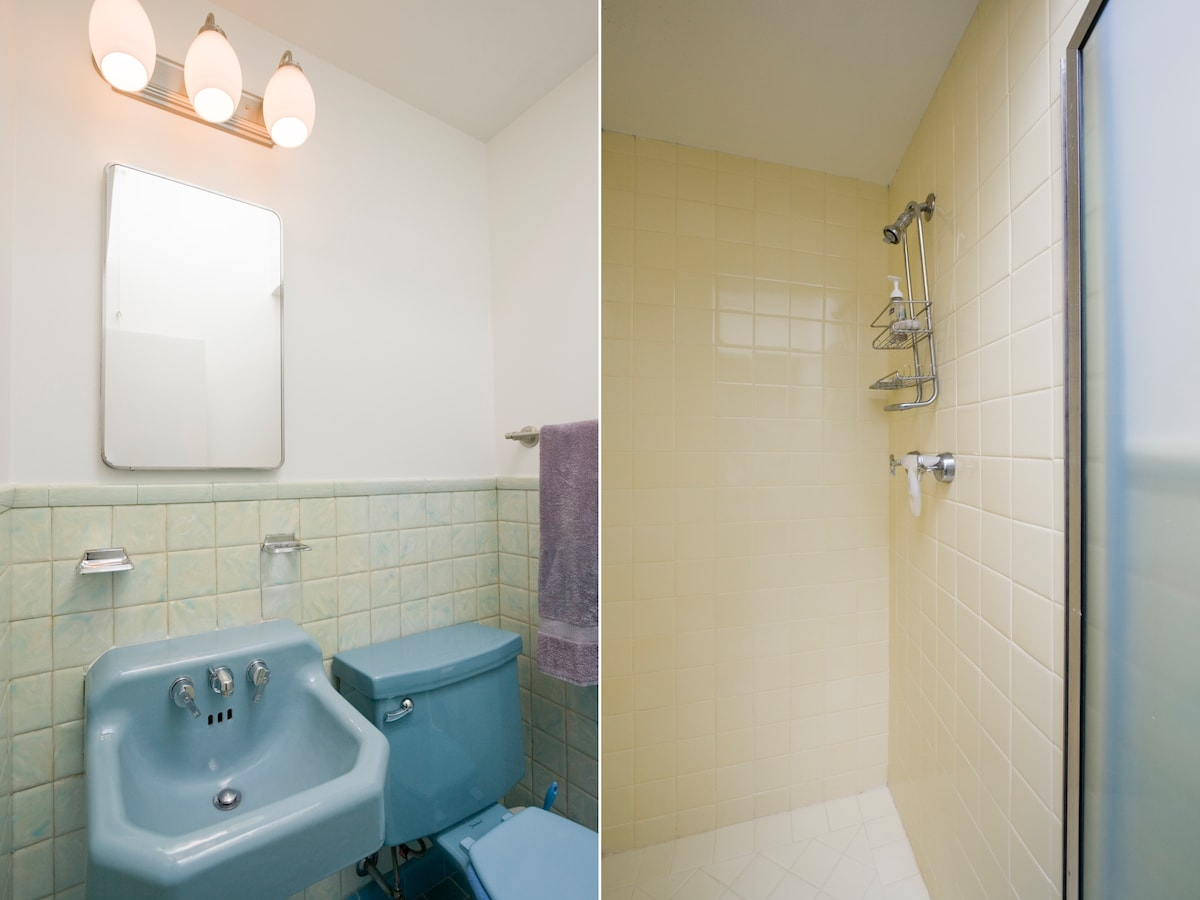 Private bath with shower, sink and toilet