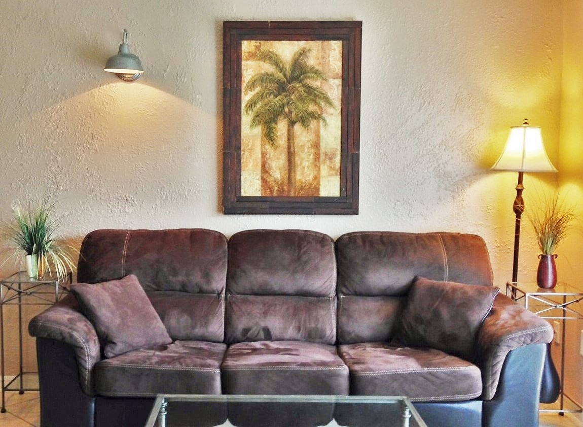 Comfy furnishing and queen sleeper sofa in living room.