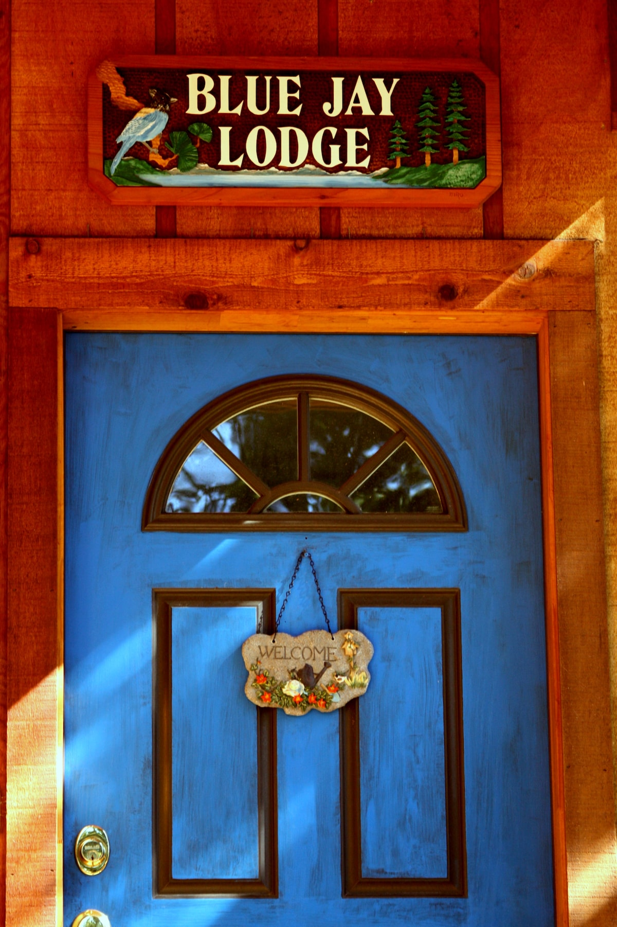 Welcome to Blue Jay Lodge! Our front door.