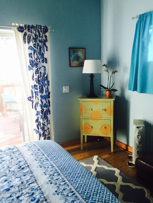 Large bedroom, with french doors leading to deck.  Great views from bed.  Queen with pillow top bed.