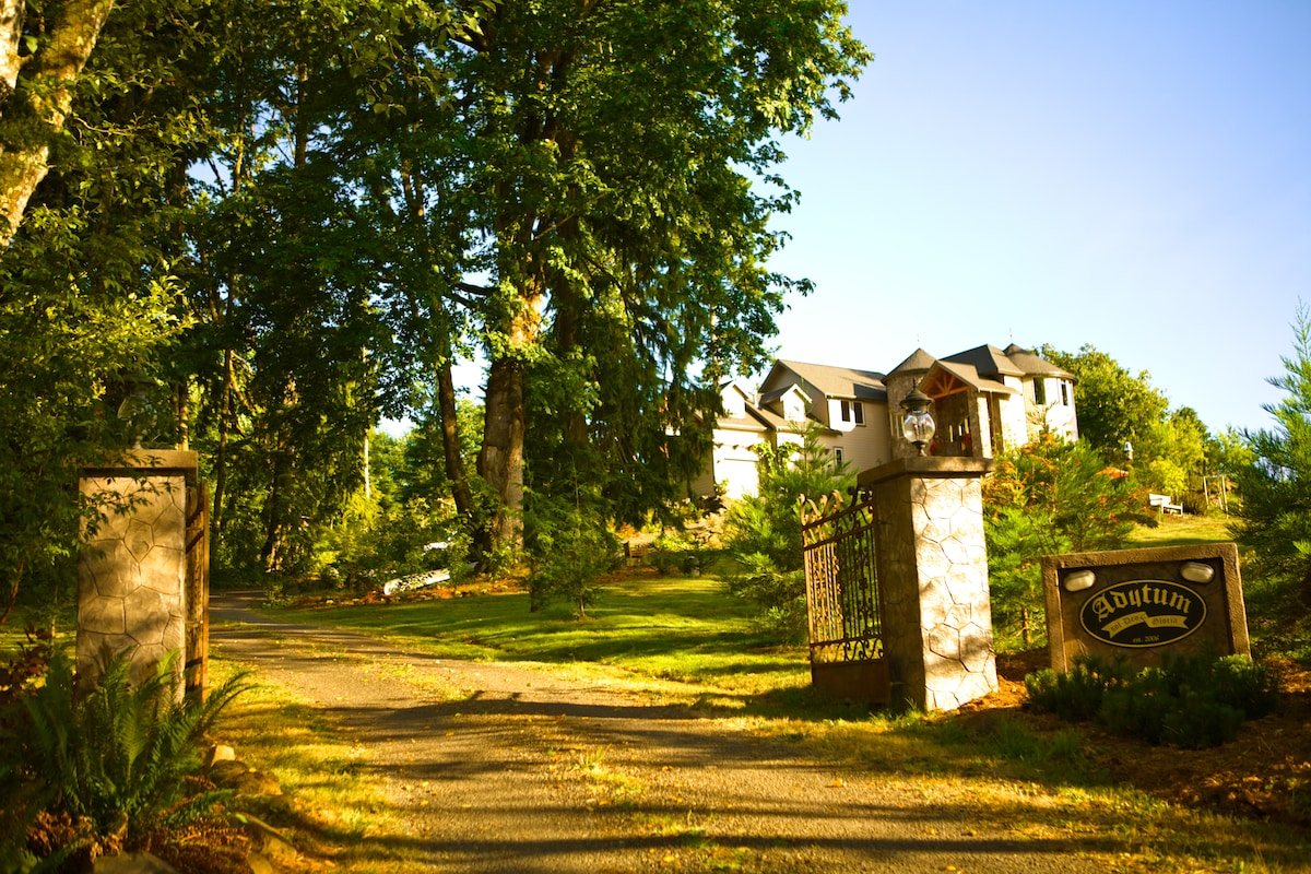 Adytum Sanctuary is called a Castle by guests and locals alike...6000 sq. ft, 75 windows, three stories and each window with a stunning view- literally...16 acres of forest- all chemical/pesticide free!