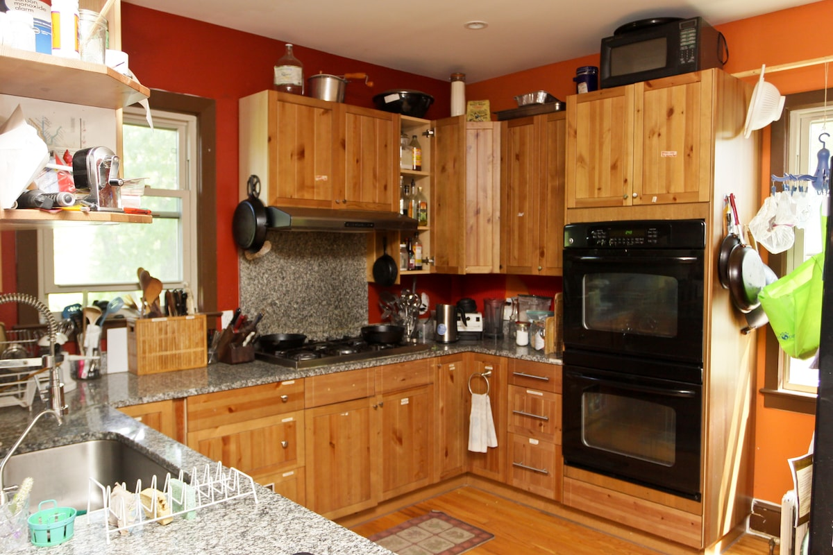 Our kitchen is a joy to cook in, and guests are welcome to use it following the requests posted in the kitchen.